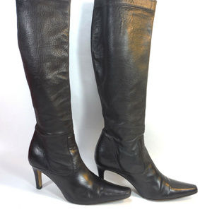 COLE HAAN skinny lambskin leather black boots 8.5